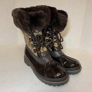Coach Leonora Fur Trim Snow Boots Sz 11